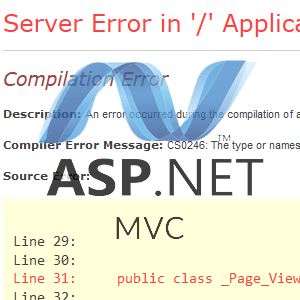 asp.net mvc - razor cannot find assembly server error