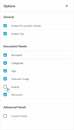 wordpress gutenberg post editor options - enable excerpt