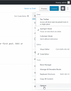 wordpress gutenberg post editor options - missing excerpt field - enabling it back using three dots options button