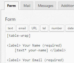 Contact Form 7 - Form Template using Shortcode