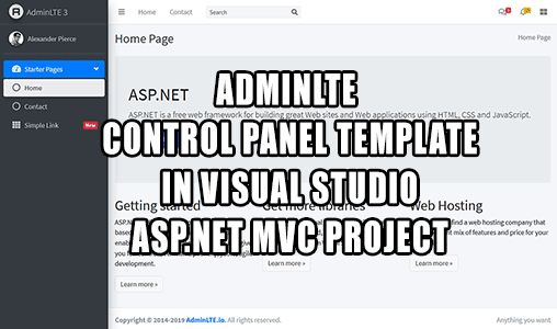 How to use AdminLte control panel template in Visual Studio ASP.NET MVC project